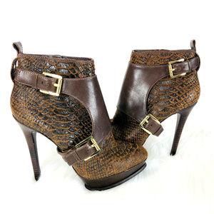 MICHAEL Michael Kors Leather Platform Heel Boots